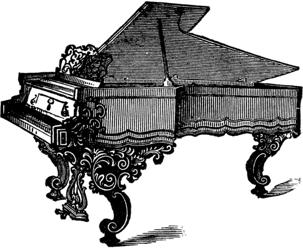vintage ornate piano clipart