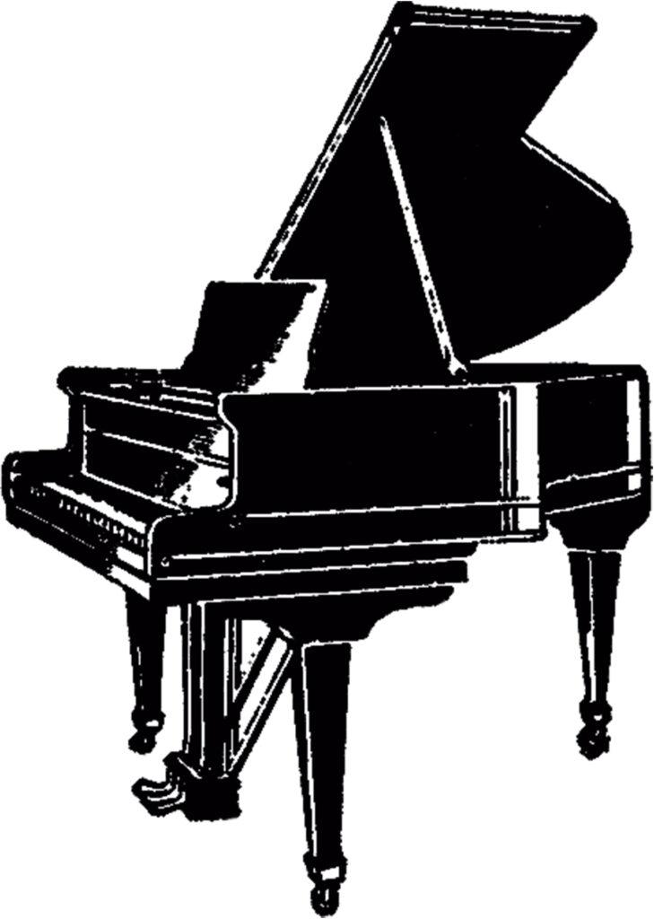vintage grand piano clipart