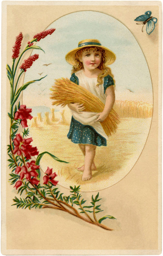 vintage wheat harvest girl image