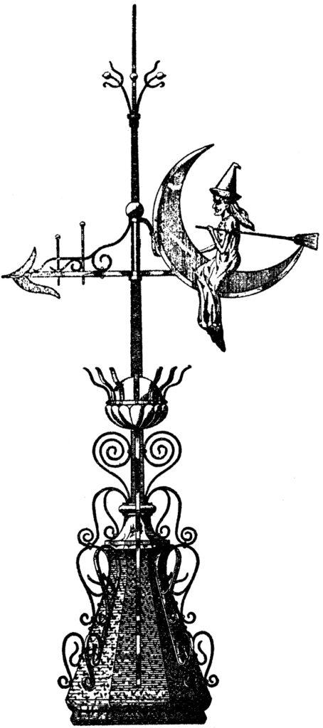 vintage witch weather vane illustration
