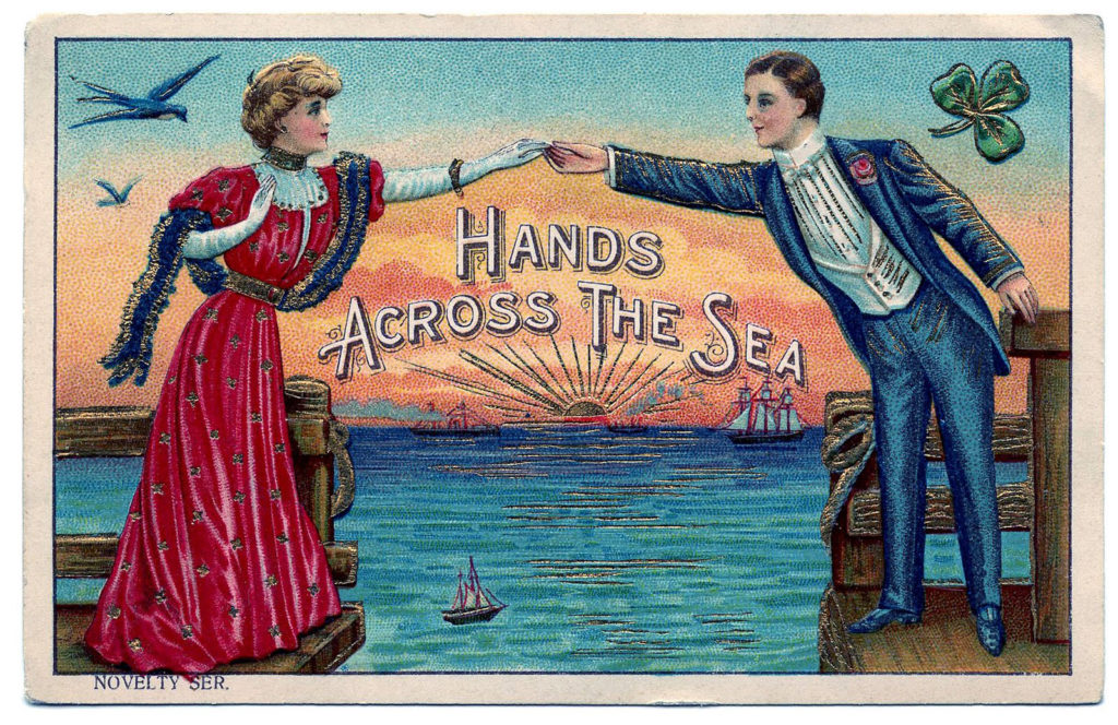hands across the sea vintage postcard clipart