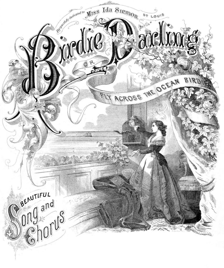 birdie darling black white sheet music cover clip art