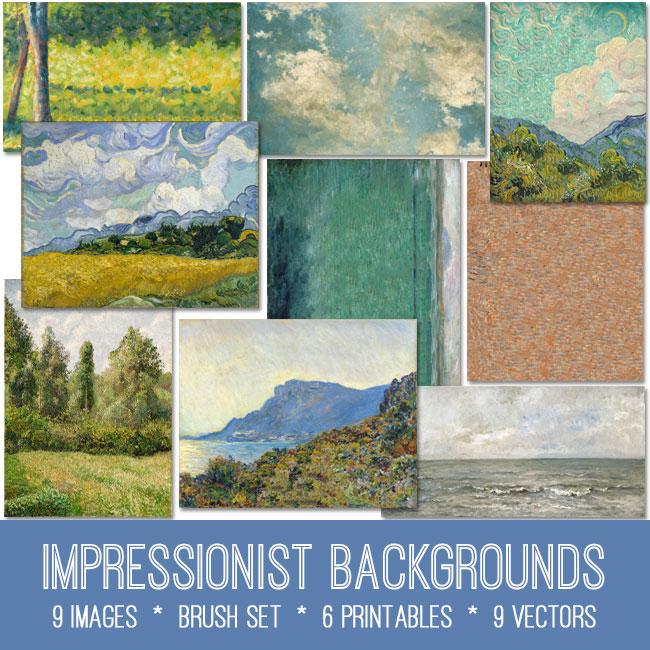impressionist backgrounds vintage ephemera images