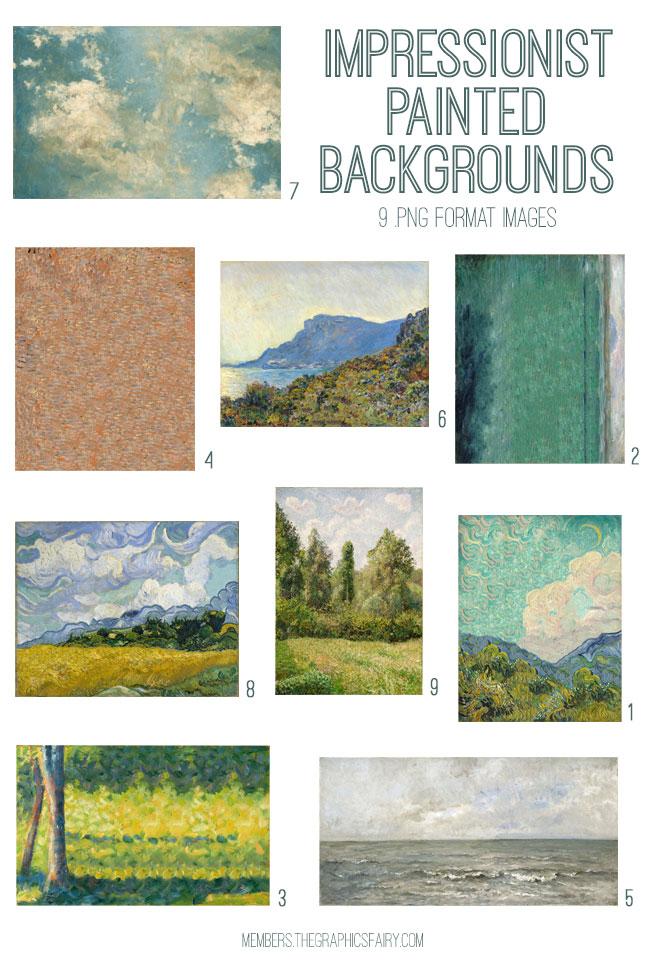 vintage impressionist painted backgrounds ephemera digital image bundle