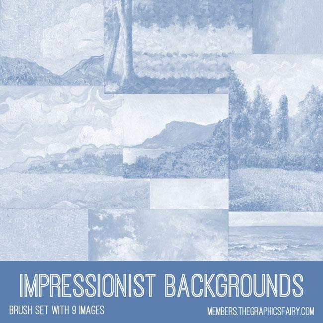 vintage impressionist background paintings ephemera brush set