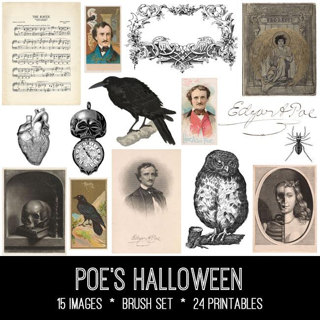 Poe's Halloween ephemera vintage images