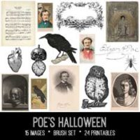 Poe's Halloween vintage ephemera images