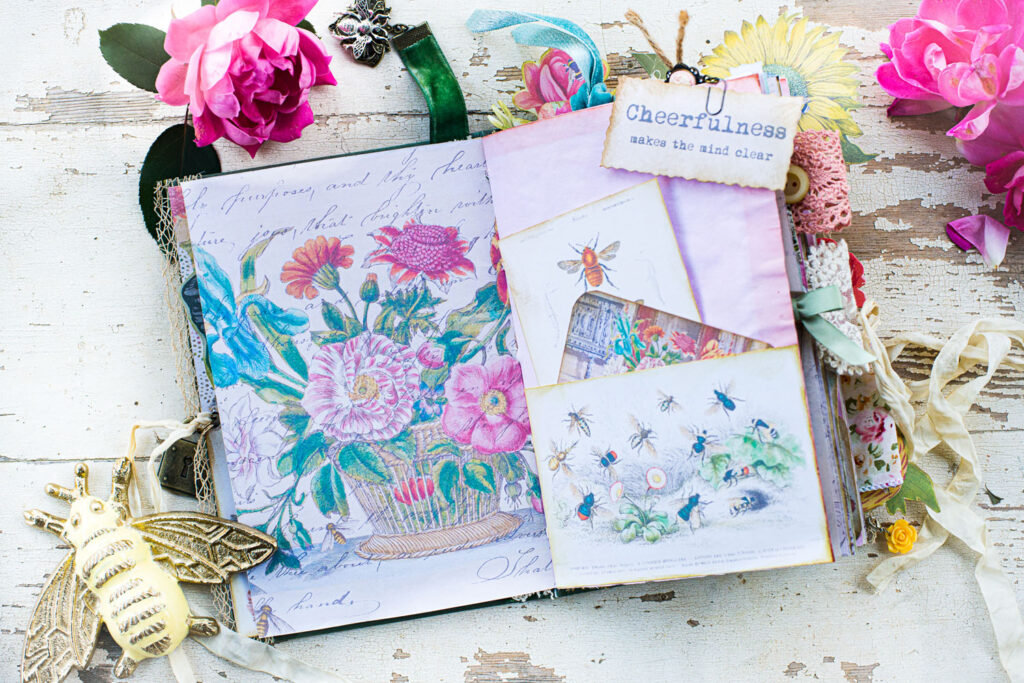 journal page with velvet bookmark