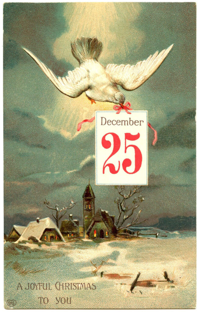 December 25 calendar dove winter village snow image