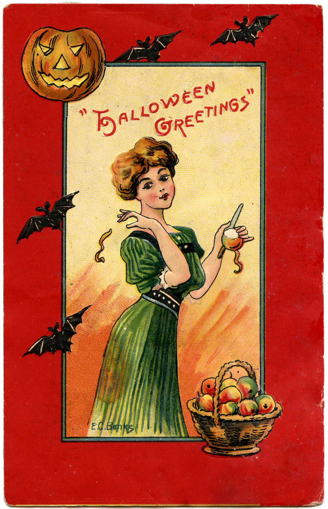Halloween Lady with Bats and Apples