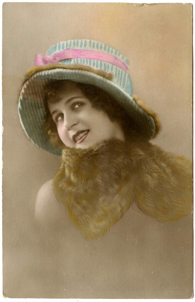 lady striped hat photo image