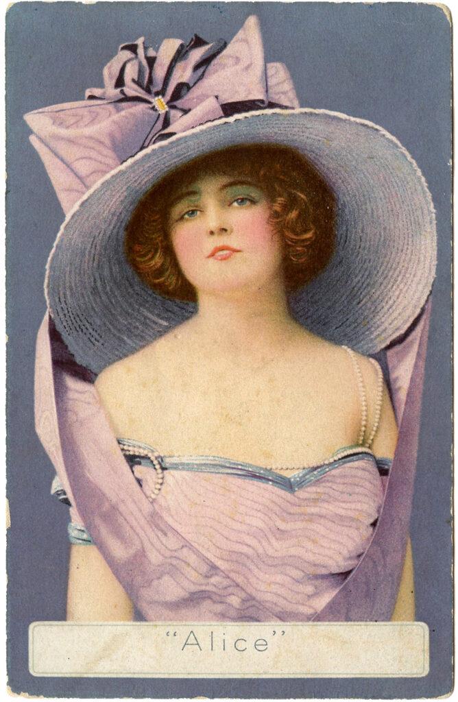 lady pink dress hat bow illustration