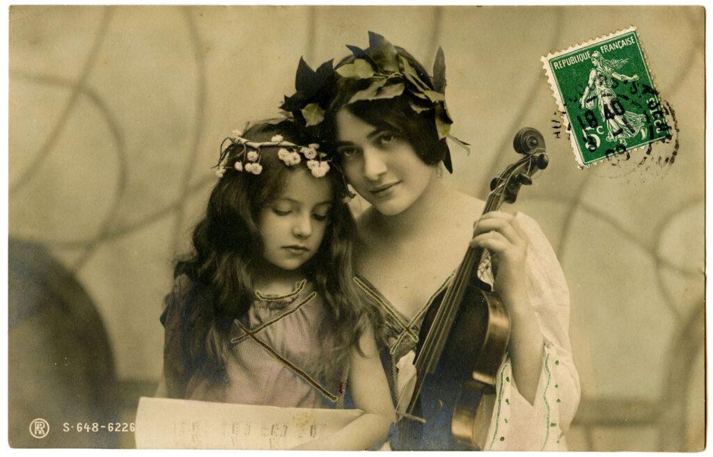mother daughter violin vintage photo image