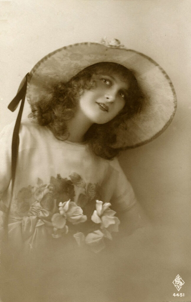lady hat flowers photo image