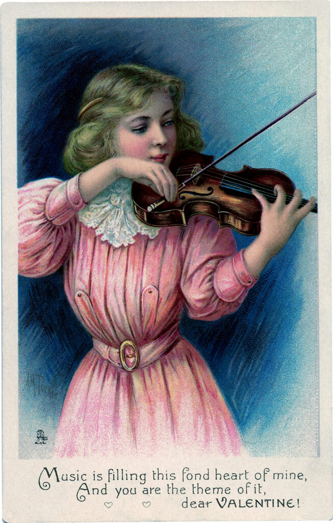 girl woman playing violin vintage illustration