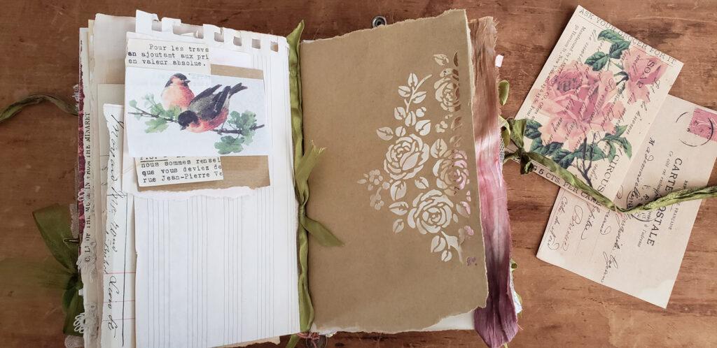 die cut brown paper journal page
