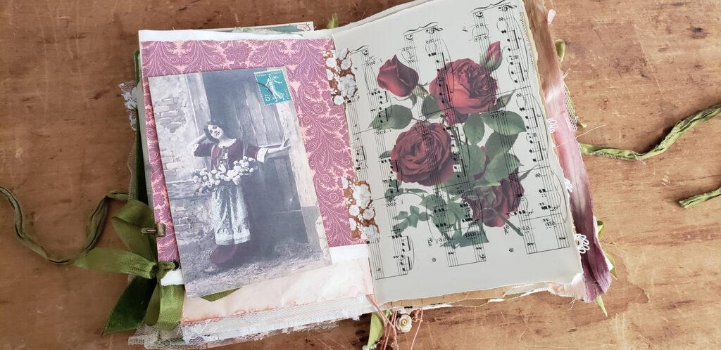 roses printed on vintage sheet music paper