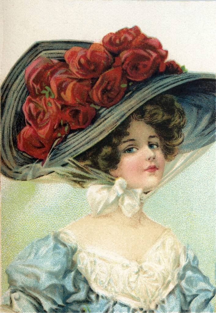 Victorian hat lady roses image