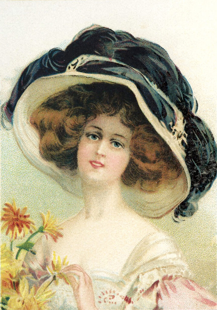woman large hat clipart