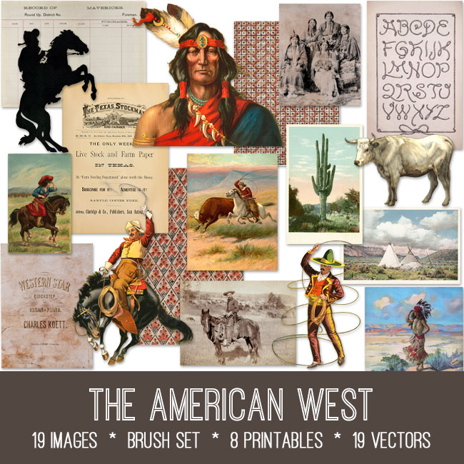 The American West ephemera vintage images
