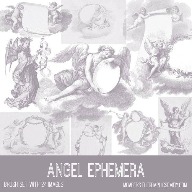 vintage angel ephemera brush set