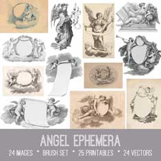 vintage angel ephemera bundle