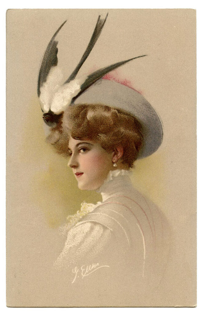 hat bird feathers woman image