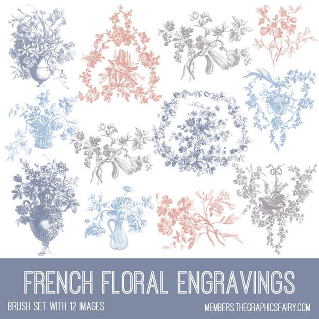 vintage French floral engravings ephemera brush set