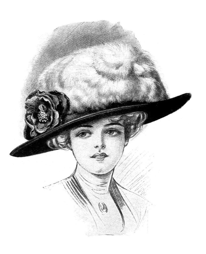 lady large hat clipart