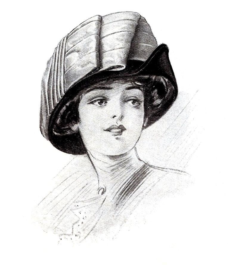 sculptural hat lady clipart