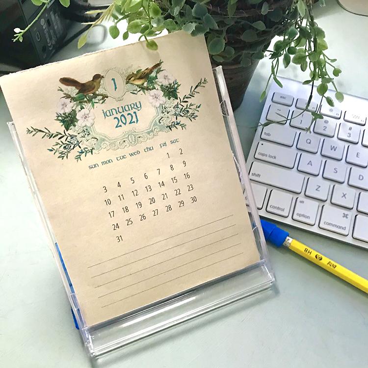 2021 Calendar on Desk