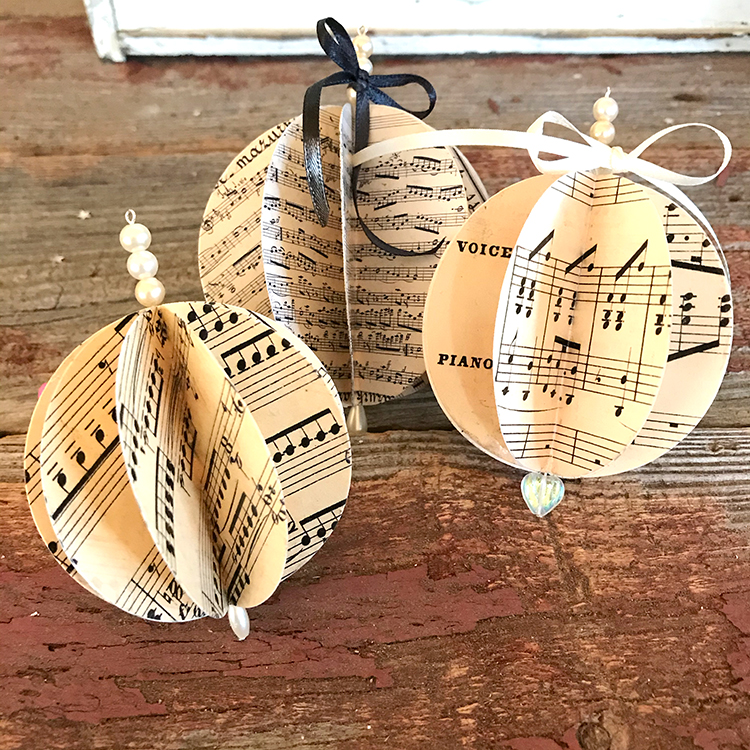 3 Sheet Music Ornaments
