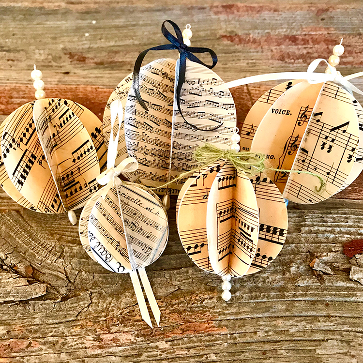5 Sheet Music Ornaments