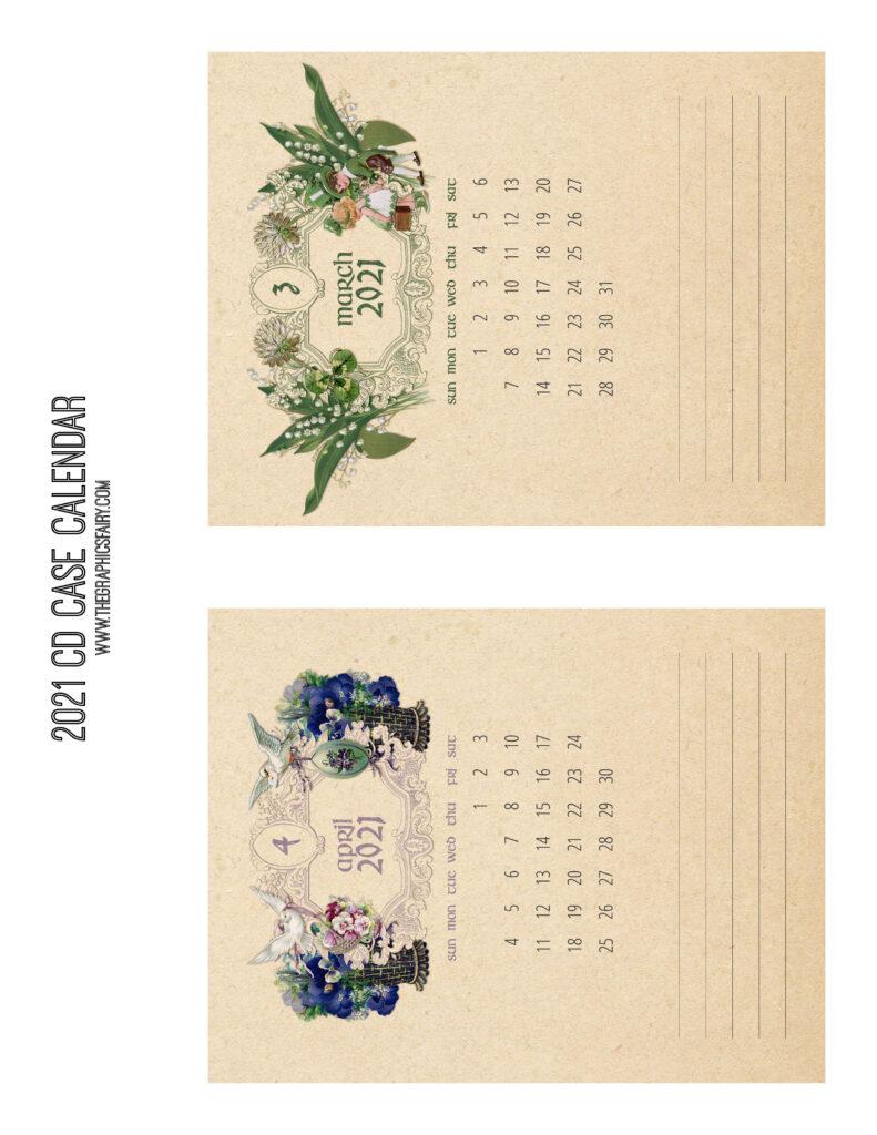 March April 2021 Calendar Graphics Fairy