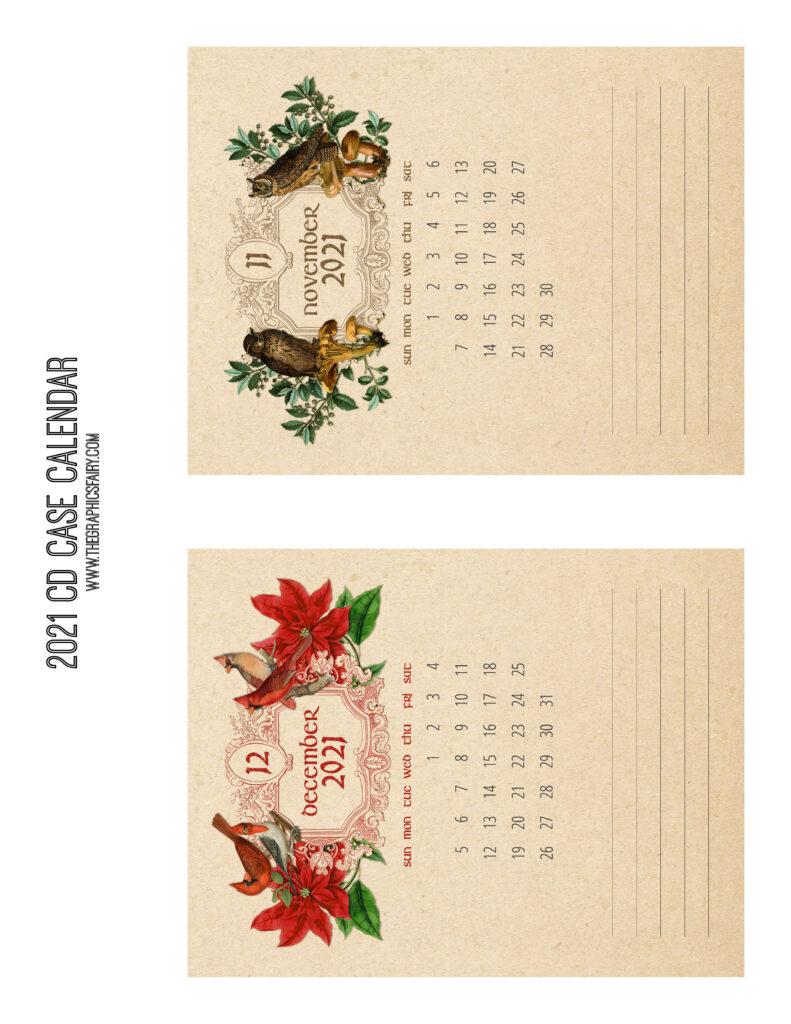 November December 2021 Calendar Graphics Fairy