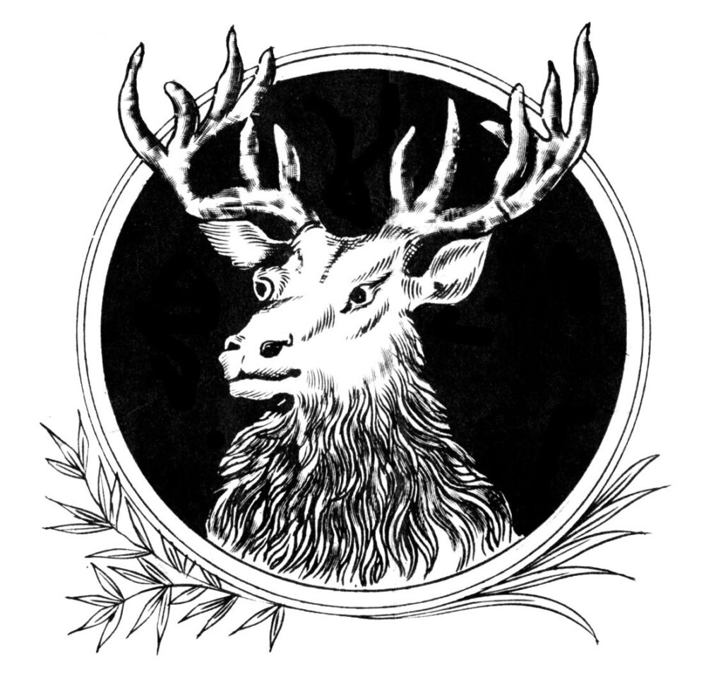 Christmas elk vintage clipart