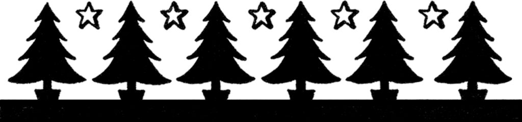 vintage Christmas tree silhouette border image