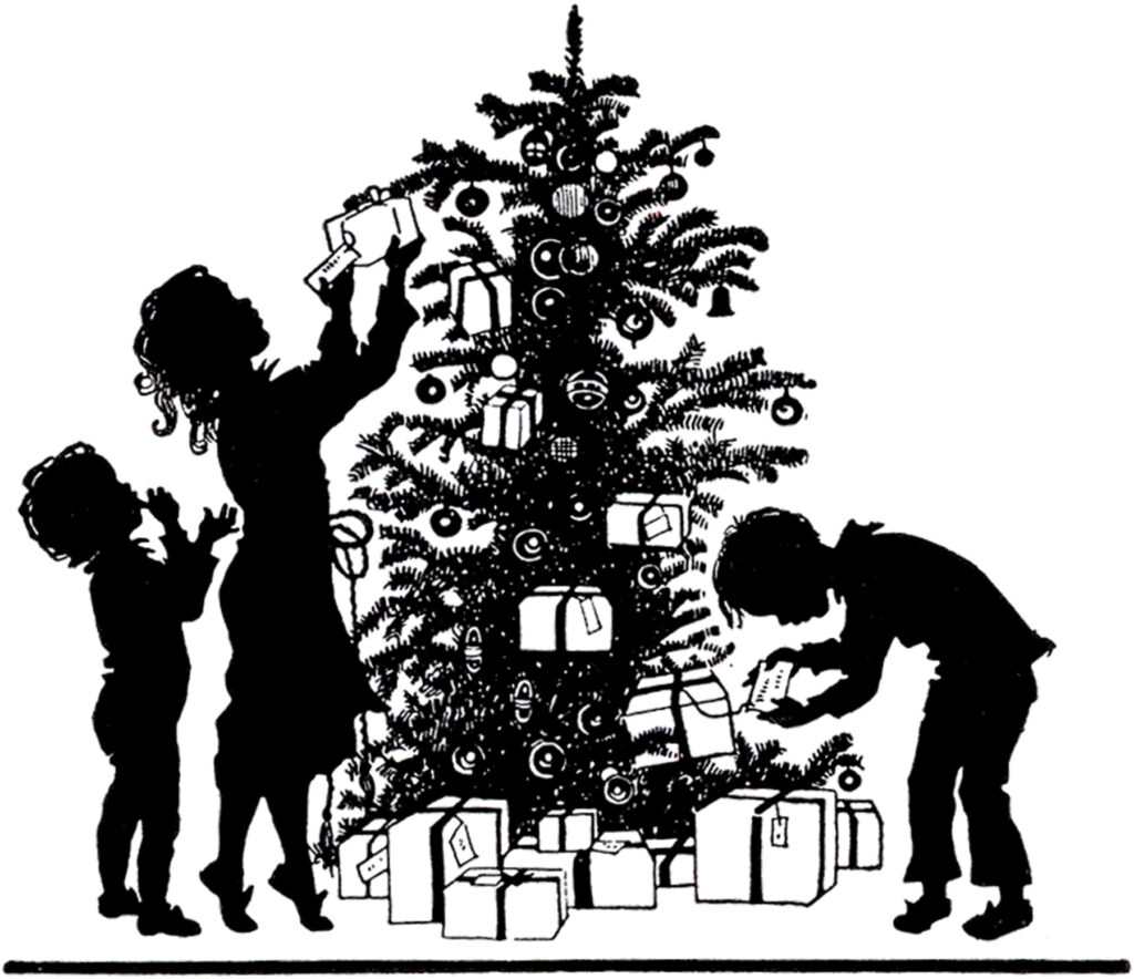 Christmas morning tree family presents gifts silhouette image