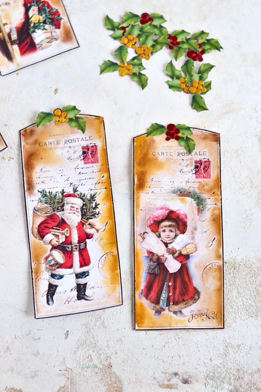 Vintage Watercolor Christmas Tags
