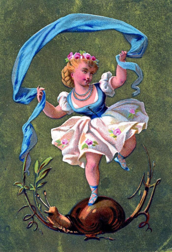 dancer girl ribbon snail image