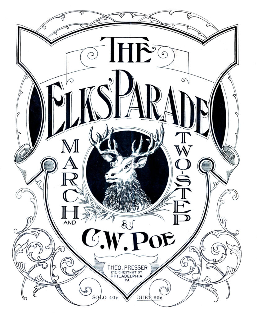 Elk's Parade vintage sheet music clipart