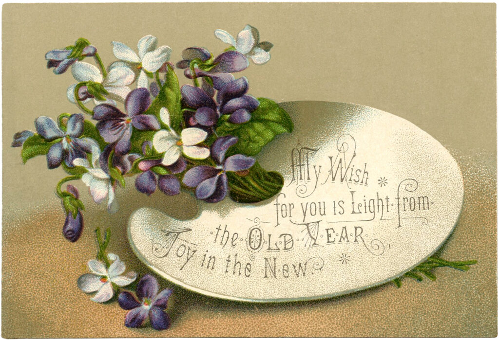 floral new year card violets clipart