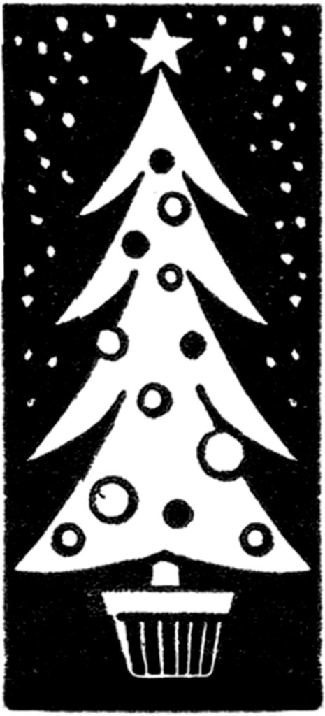 retro Christmas tree black white clipart