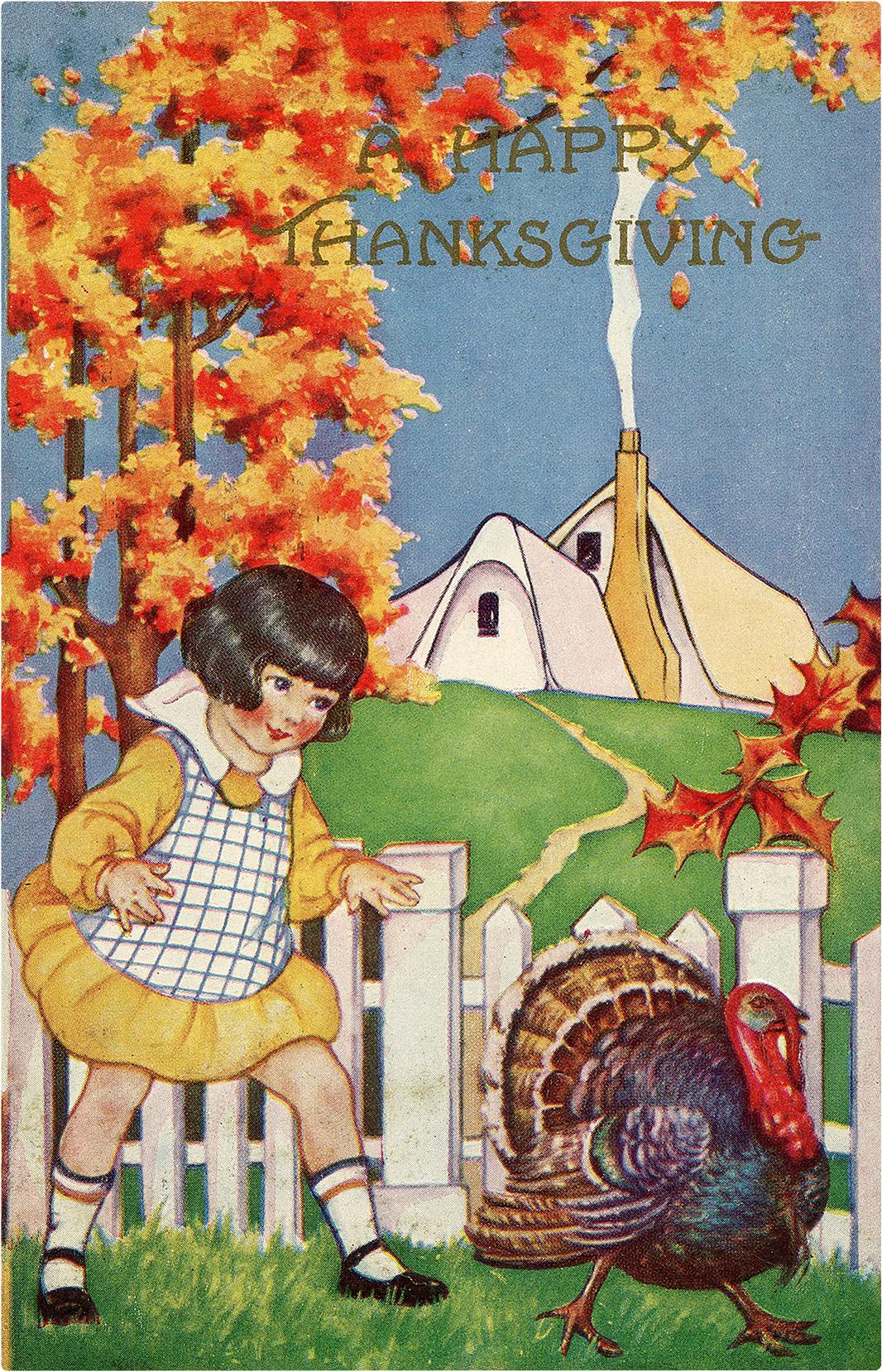Girl chasing Turkey Image