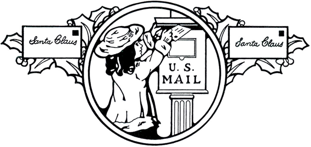 little girl mail letter illustration