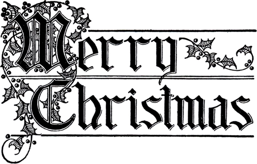 Merry Christmas typography vintage image