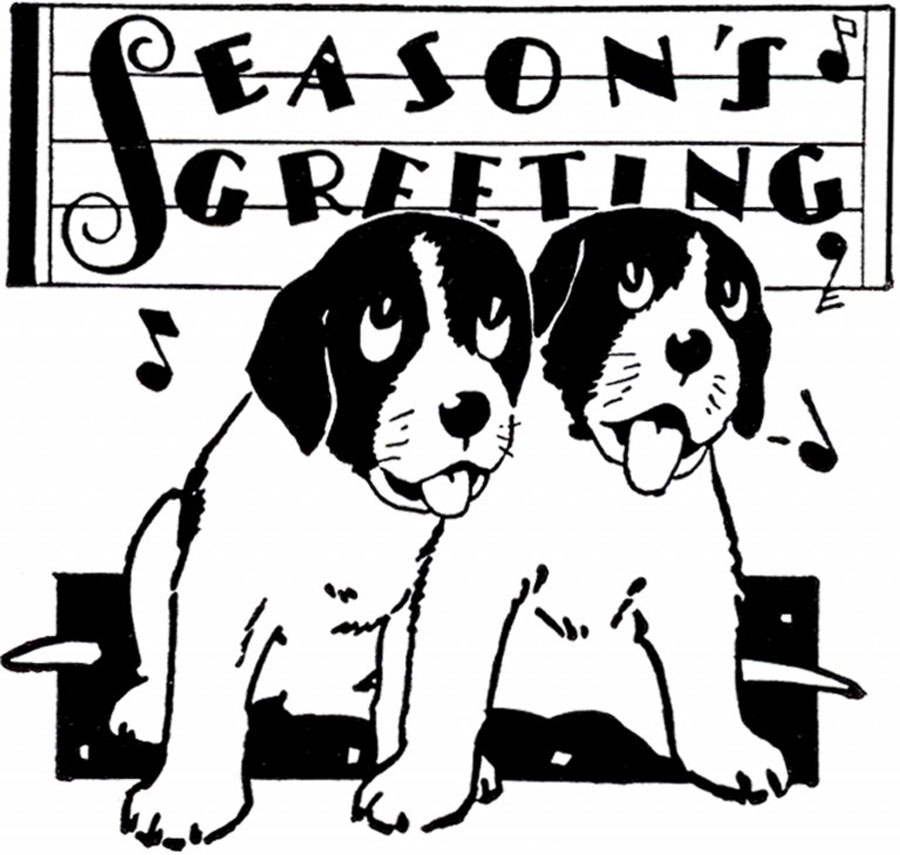 season's greetings puppies illustration