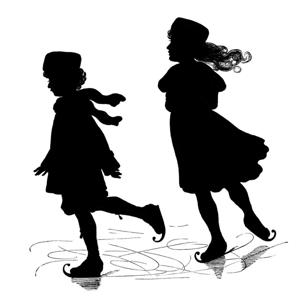 ice skater kids silhouette clip art