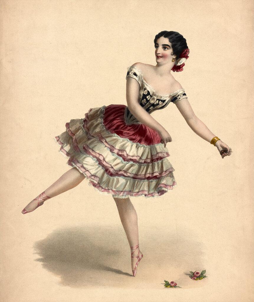 vintage ballerina roses image