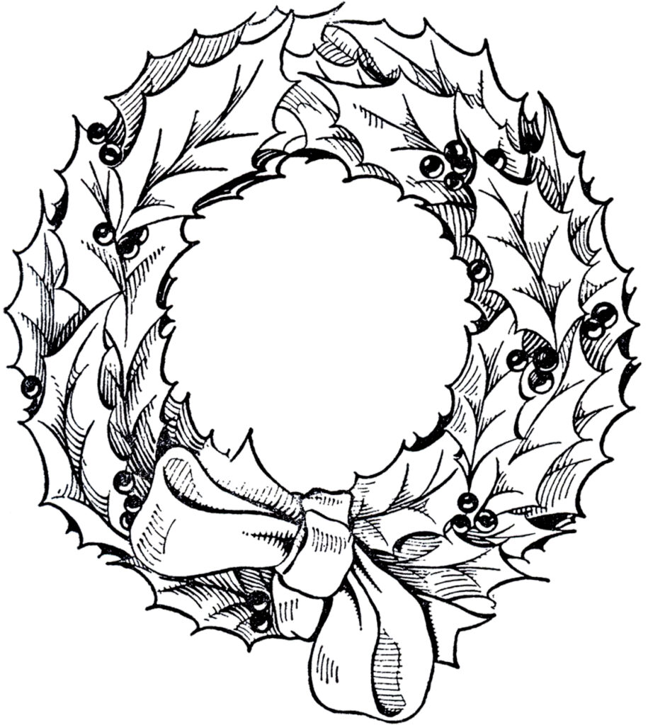 vintage holly wreath clipart